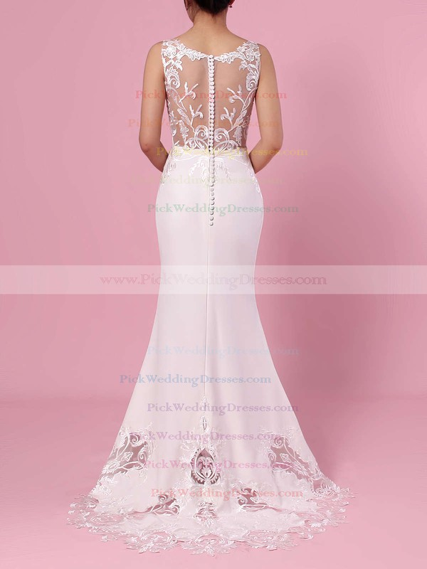 Trumpet/Mermaid V-neck Tulle Silk-like Satin Sweep Train Embroidered Wedding Dresses #PWD00023387