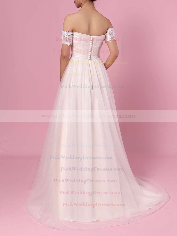 Princess Off-the-shoulder Tulle Sweep Train Sashes / Ribbons Wedding Dresses #PWD00023388