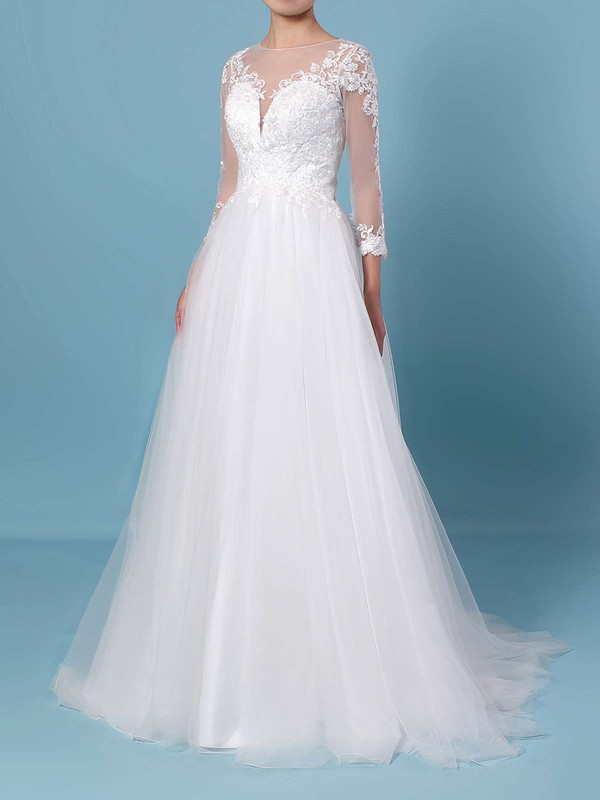 Princess Scoop Neck Tulle Sweep Train Appliques Lace Wedding Dresses #PWD00023389