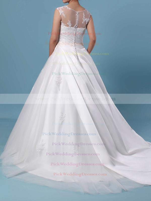 Ball Gown Scoop Neck Tulle Sweep Train Appliques Lace Wedding Dresses #PWD00023390