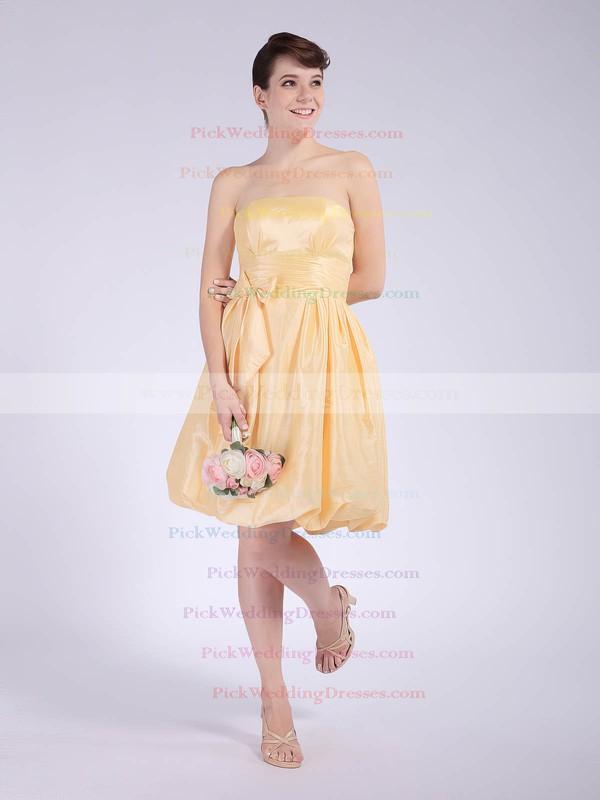 Empire Knee-length Taffeta Bow Strapless Bridesmaid Dresses #PWD02042148