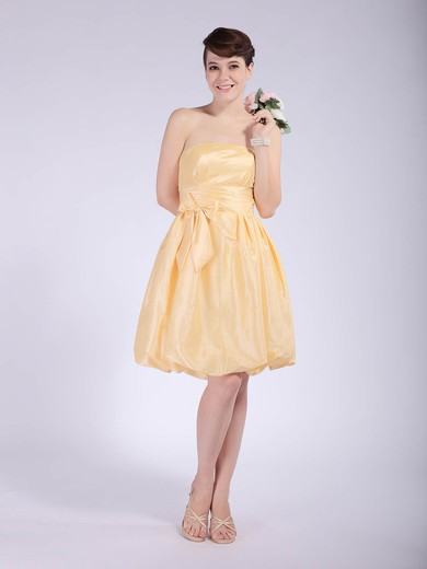 Empire Knee-length Taffeta Bow Strapless Bridesmaid Dresses #PWD02042148