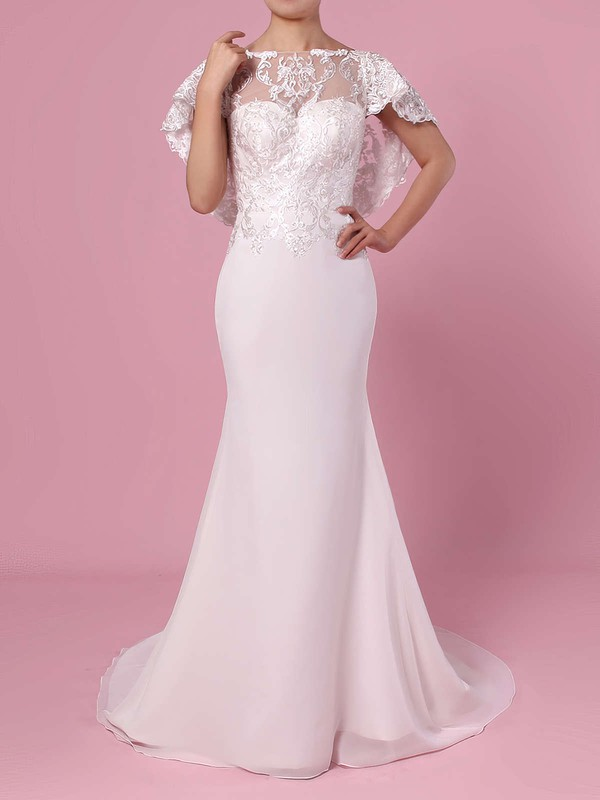 Trumpet/Mermaid Scoop Neck Lace Chiffon Sweep Train Appliques Lace Wedding Dresses #PWD00023391