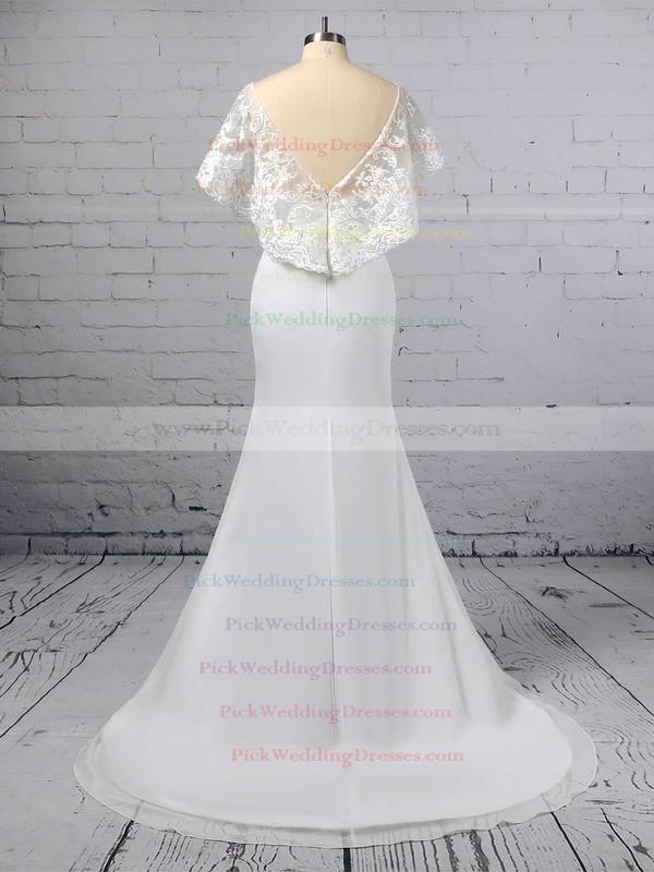 Trumpet/Mermaid Scoop Neck Lace Chiffon Sweep Train Appliques Lace Wedding Dresses #PWD00023391