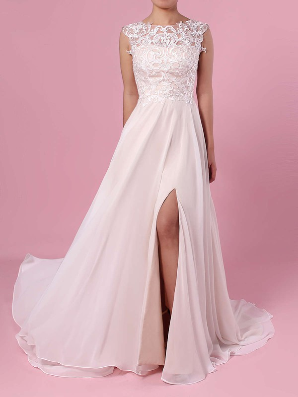 A-line Scoop Neck Chiffon Tulle Sweep Train Split Front Wedding Dresses #PWD00023392
