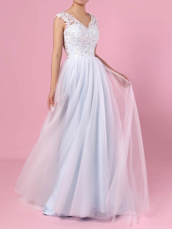 A-line V-neck Tulle Sweep Train Appliques Lace Wedding Dresses #PWD00023394