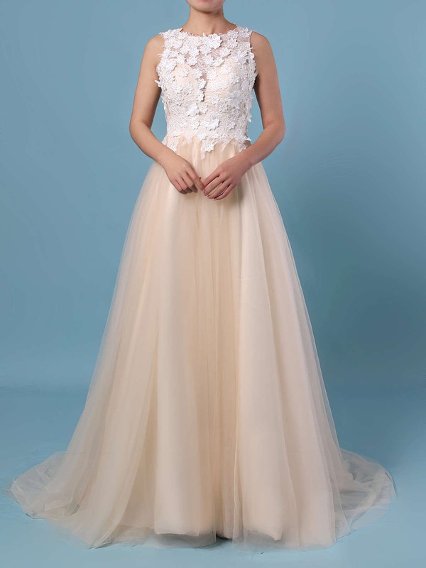 A-line Scoop Neck Lace Tulle Sweep Train Appliques Lace Wedding Dresses #PWD00023395