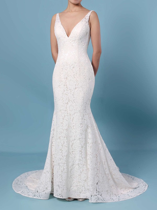 Trumpet/Mermaid V-neck Lace Sweep Train Wedding Dresses #PWD00023398