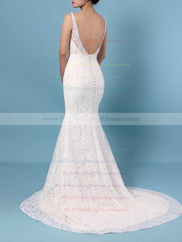 Trumpet/Mermaid V-neck Lace Sweep Train Wedding Dresses #PWD00023398