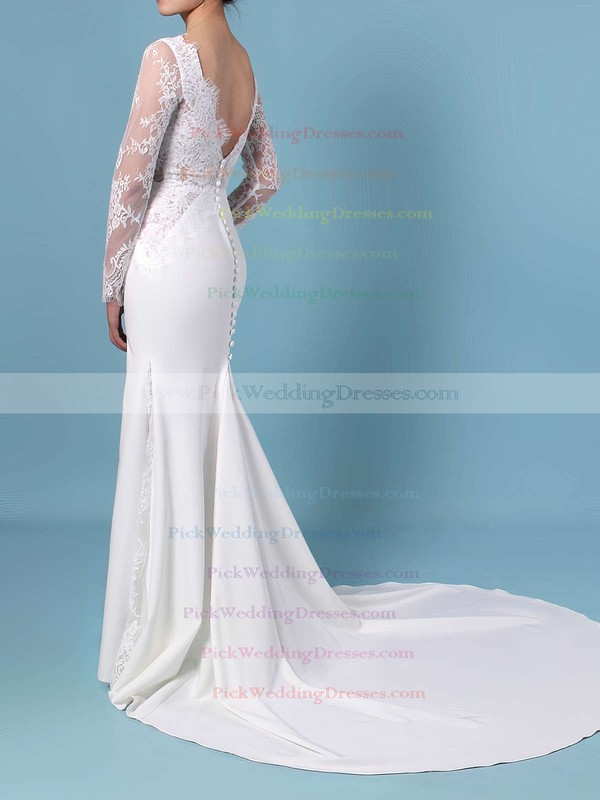 Trumpet/Mermaid Scalloped Neck Lace Silk-like Satin Sweep Train Appliques Lace Wedding Dresses #PWD00023401