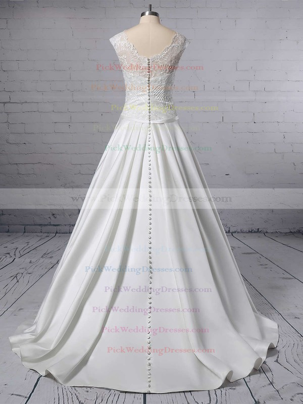 Ball Gown V-neck Lace Satin Sweep Train Pockets Wedding Dresses #PWD00023403