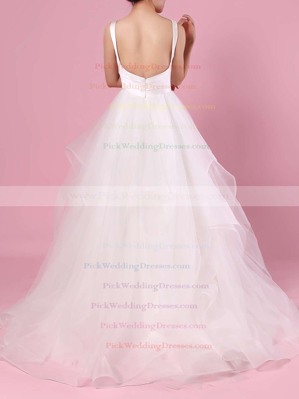 Ball Gown V-neck Organza Tulle Floor-length Cascading Ruffles Wedding Dresses #PWD00023407