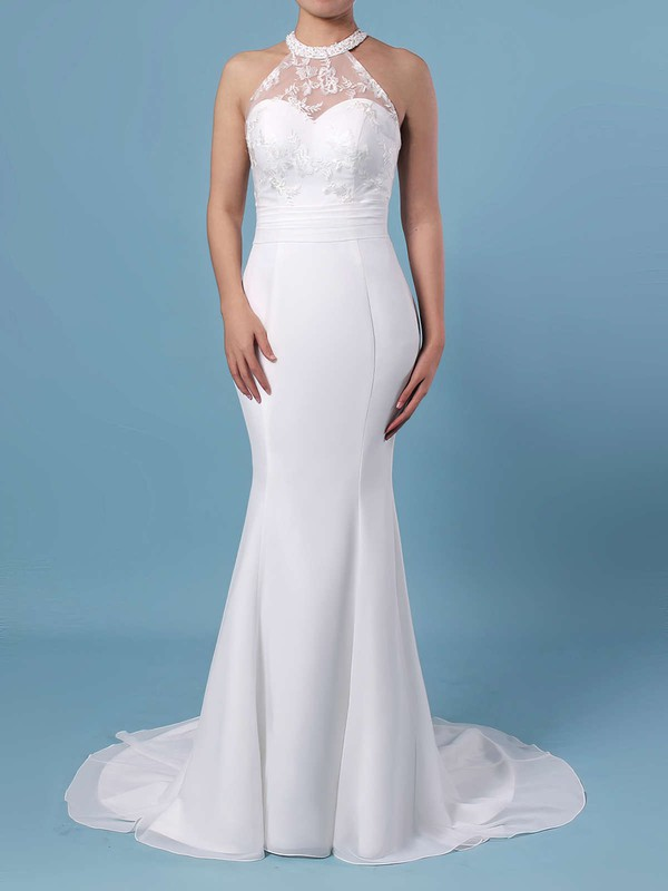Trumpet/Mermaid Scoop Neck Chiffon Tulle Sweep Train Embroidered Wedding Dresses #PWD00023408