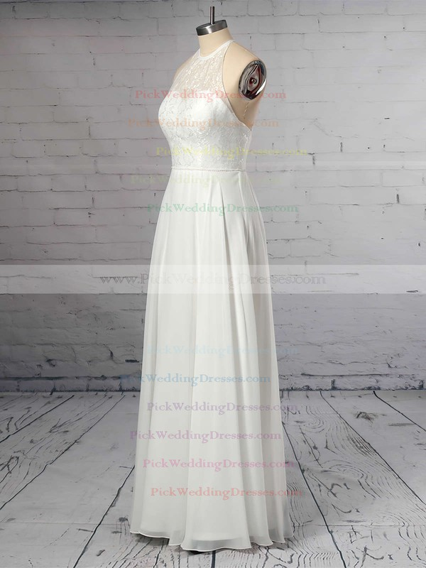 A-line Scoop Neck Chiffon Floor-length Lace Wedding Dresses #PWD00023409