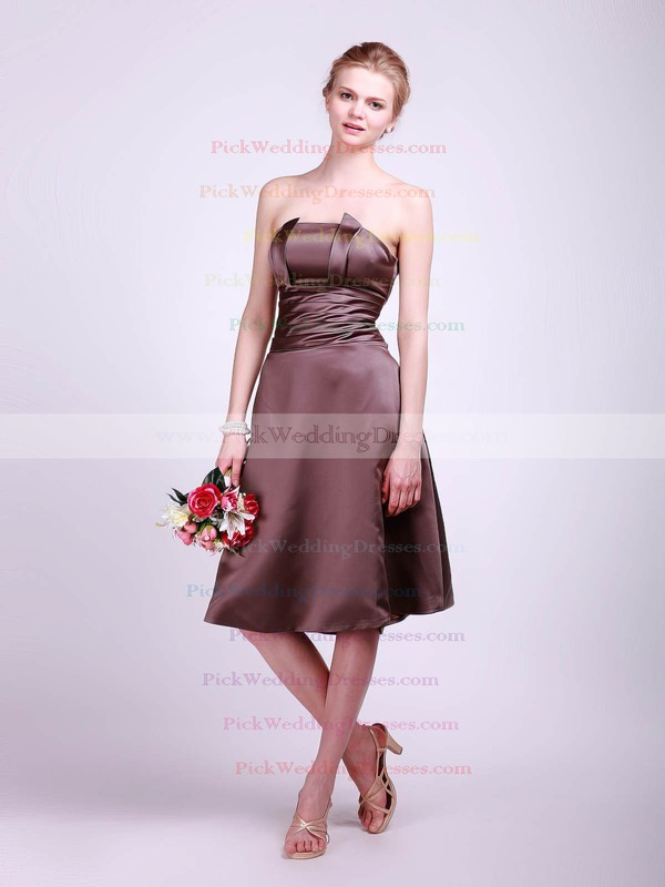 A-line Tea-length Satin Sashes/Ribbons Straps Bridesmaid Dresses #PWD01012013