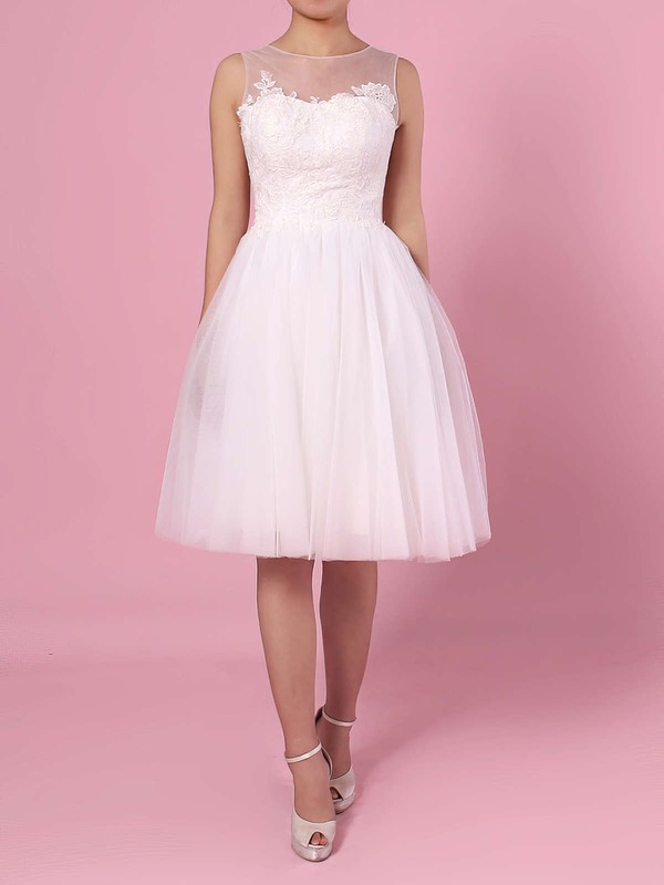 A-line Scoop Neck Tulle Knee-length Appliques Lace Wedding Dresses #PWD00023419