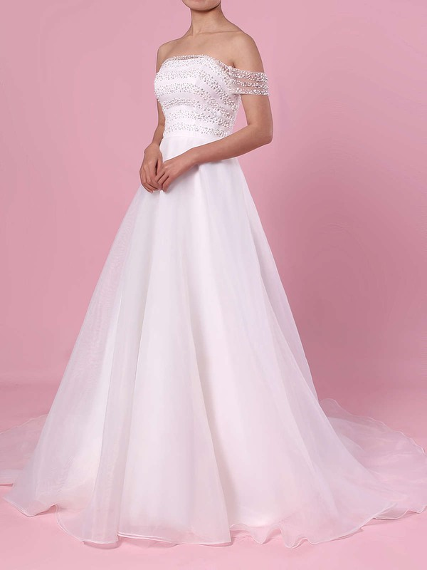 Princess Off-the-shoulder Organza Tulle Sweep Train Sequins Wedding Dresses #PWD00023423