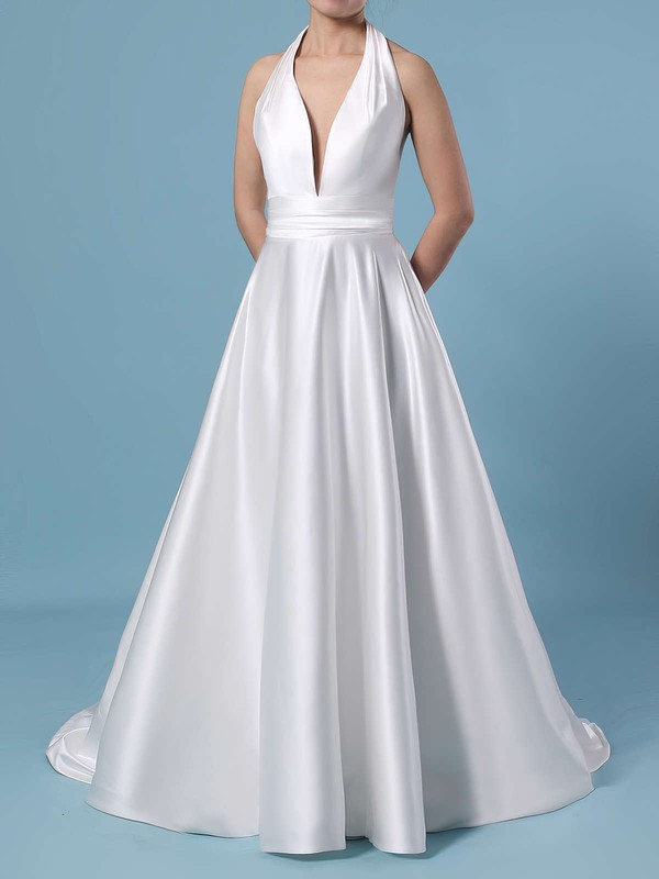 Ball Gown Halter Satin Sweep Train Ruffles Wedding Dresses #PWD00023424