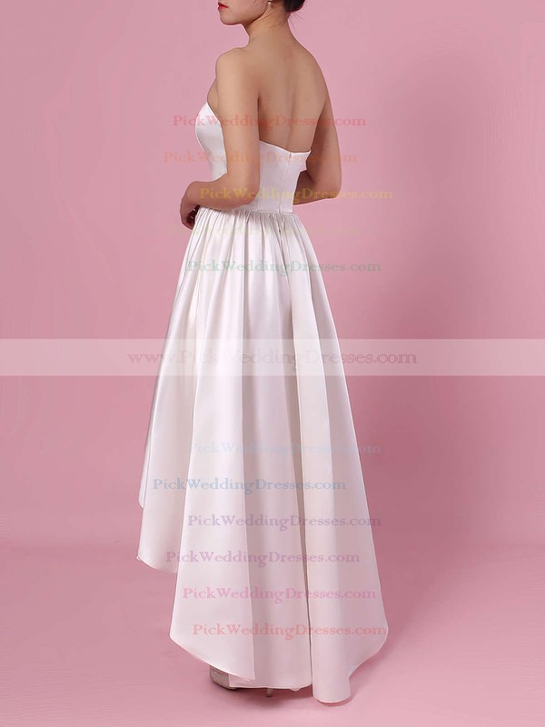 Princess Strapless Satin Asymmetrical Pockets Wedding Dresses #PWD00023426