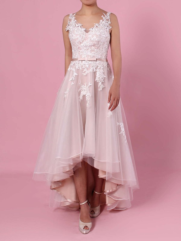 A-line V-neck Tulle Asymmetrical Appliques Lace Wedding Dresses #PWD00023427
