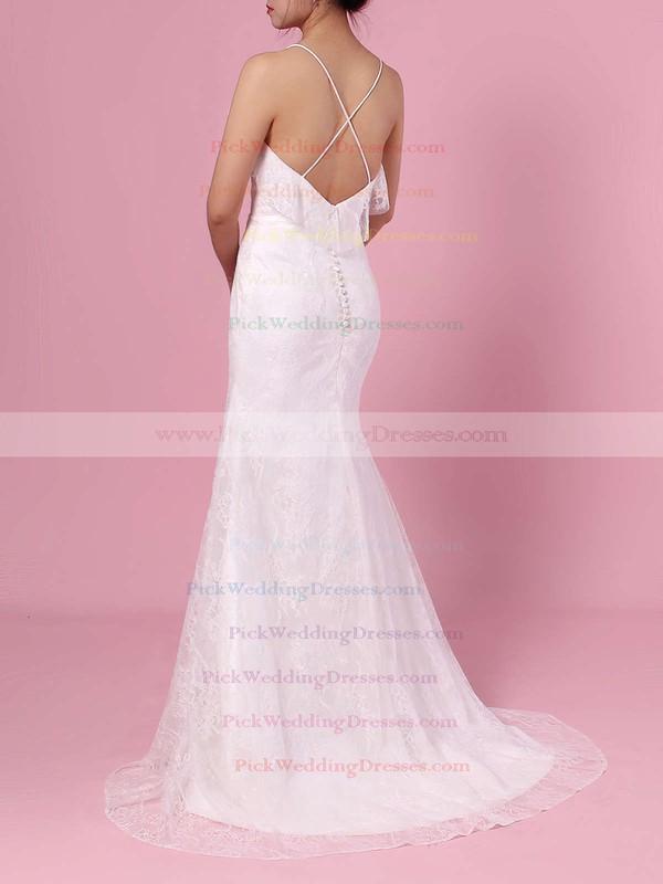 Sheath/Column V-neck Lace Sweep Train Wedding Dresses #PWD00023439