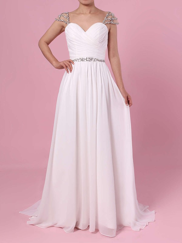 A-line V-neck Chiffon Sweep Train Beading Wedding Dresses #PWD00023441