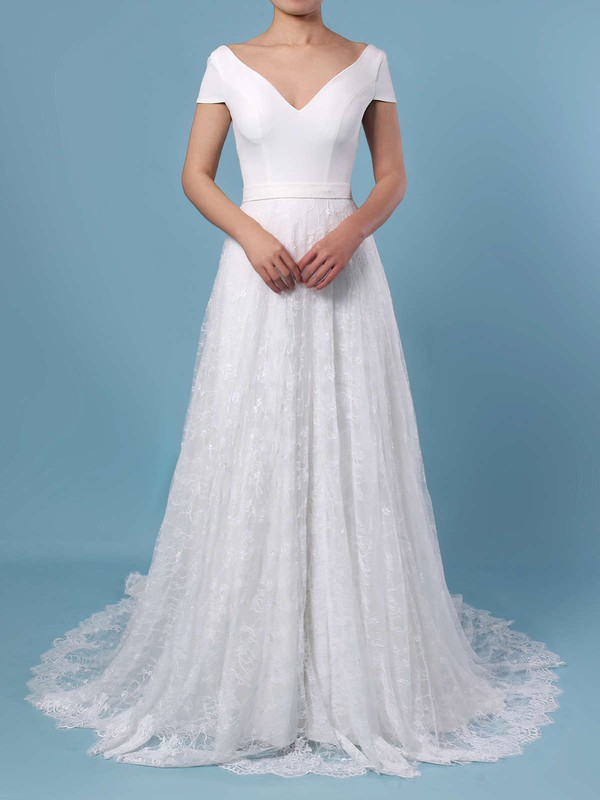 A-line Scoop Neck Lace Sweep Train Sashes / Ribbons Wedding Dresses #PWD00023448