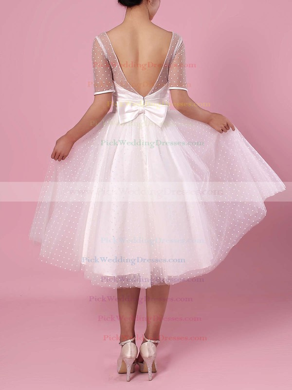 Princess Scoop Neck Tulle Tea-length Bow Wedding Dresses #PWD00023451