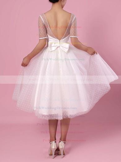 Princess Scoop Neck Tulle Tea-length Bow Wedding Dresses #PWD00023451