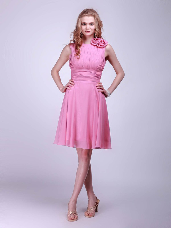A-line Knee-length Chiffon Flower(s) High Neck Bridesmaid Dresses #PWD01012014