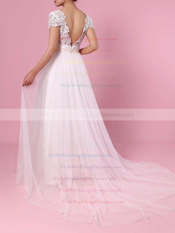 A-line V-neck Lace Tulle Sweep Train Sashes / Ribbons Wedding Dresses #PWD00023453