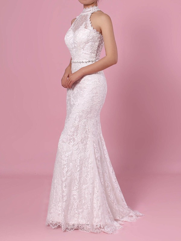Sheath/Column High Neck Lace Floor-length Lace Wedding Dresses #PWD00023454