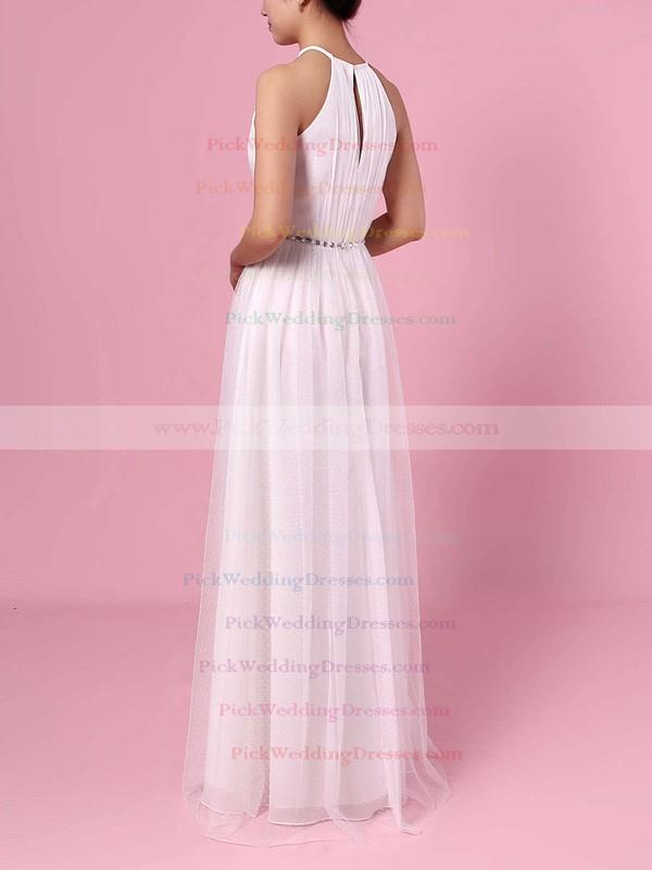 A-line Scoop Neck Tulle Floor-length Wedding Dresses #PWD00023455