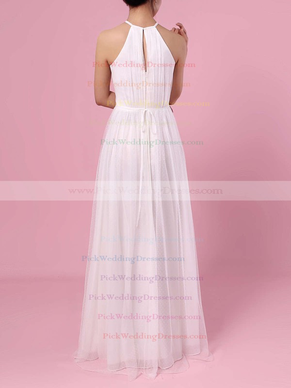 A-line Scoop Neck Tulle Floor-length Wedding Dresses #PWD00023455