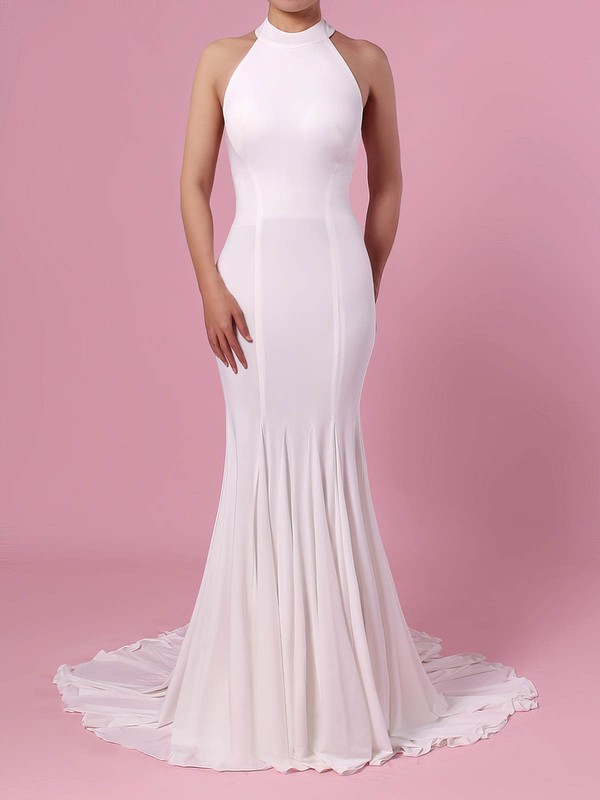 Trumpet/Mermaid Halter Satin Sweep Train Wedding Dresses #PWD00023460