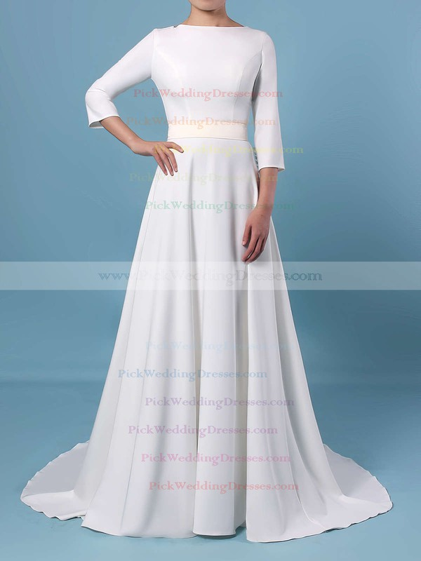 A-line Scoop Neck Satin Sweep Train Sashes / Ribbons Wedding Dresses #PWD00023461