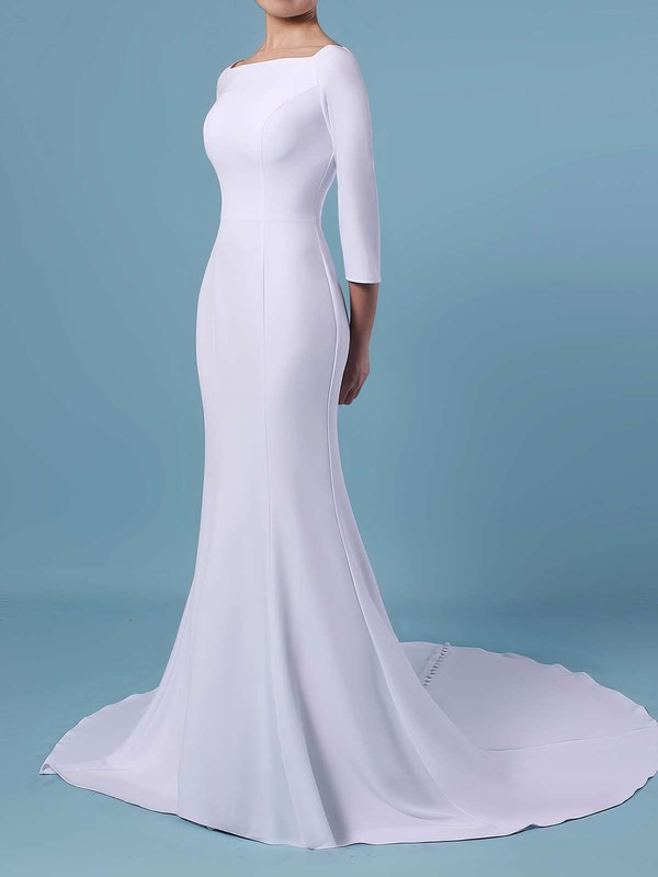 Trumpet/Mermaid Square Neckline Satin Sweep Train Wedding Dresses #PWD00023462