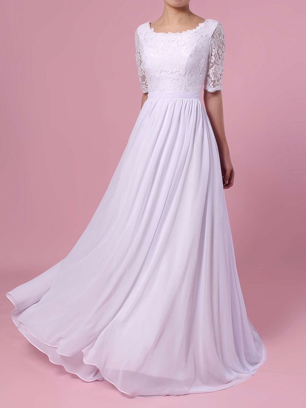 A-line Scoop Neck Lace Chiffon Sweep Train Sashes / Ribbons Wedding Dresses #PWD00023464