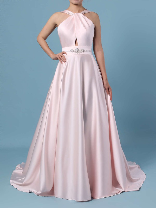 Ball Gown Halter Satin Sweep Train Beading Wedding Dresses #PWD00023465