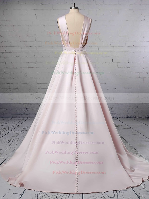 Ball Gown Halter Satin Sweep Train Beading Wedding Dresses #PWD00023465