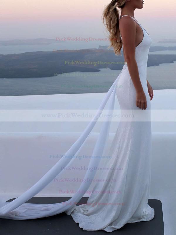 Lace Sequined V-neck Watteau Train Trumpet/Mermaid Appliques Lace Wedding Dresses #PWD00023467