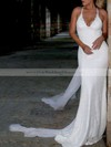 Lace Sequined V-neck Watteau Train Trumpet/Mermaid Appliques Lace Wedding Dresses #PWD00023467