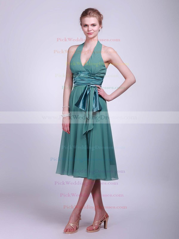Empire Tea-length Chiffon Sashes/Ribbons Halter Bridesmaid Dresses #PWD01012016