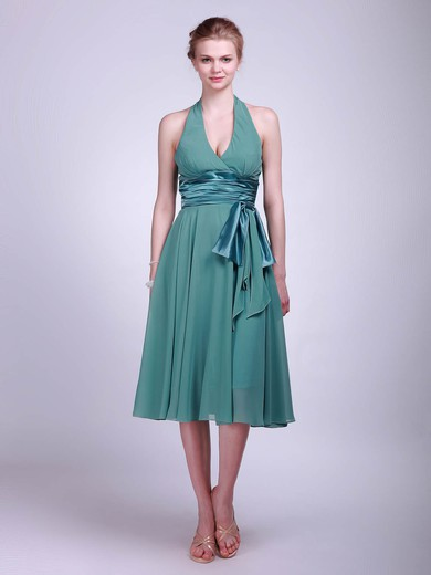Empire Tea-length Chiffon Sashes/Ribbons Halter Bridesmaid Dresses #PWD01012016