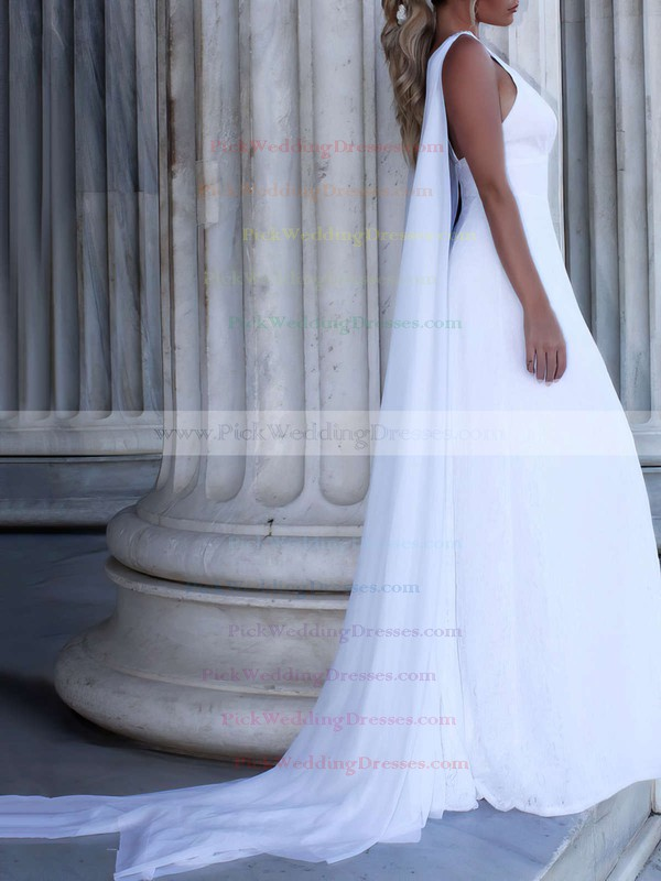 Lace Chiffon V-neck Sweep Train A-line Appliques Lace Wedding Dresses #PWD00023469