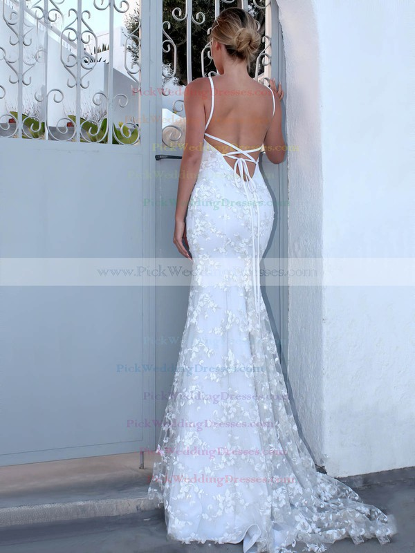 Lace V-neck Sweep Train Trumpet/Mermaid Appliques Lace Wedding Dresses #PWD00023470