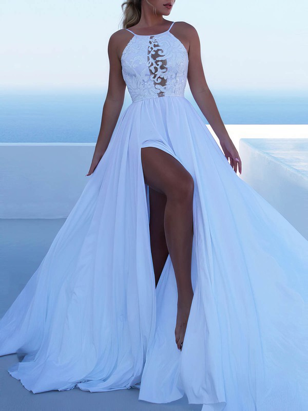 Lace Silk-like Satin Scoop Neck Sweep Train A-line Split Front Wedding Dresses #PWD00023471