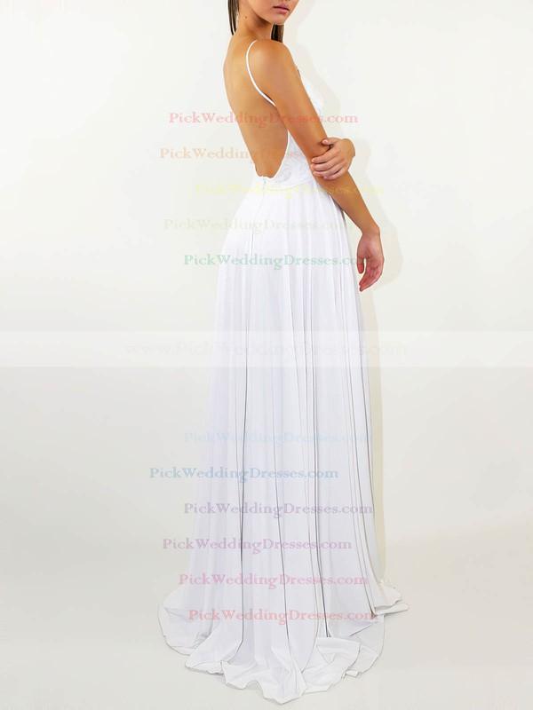 Lace Silk-like Satin Scoop Neck Sweep Train A-line Split Front Wedding Dresses #PWD00023471