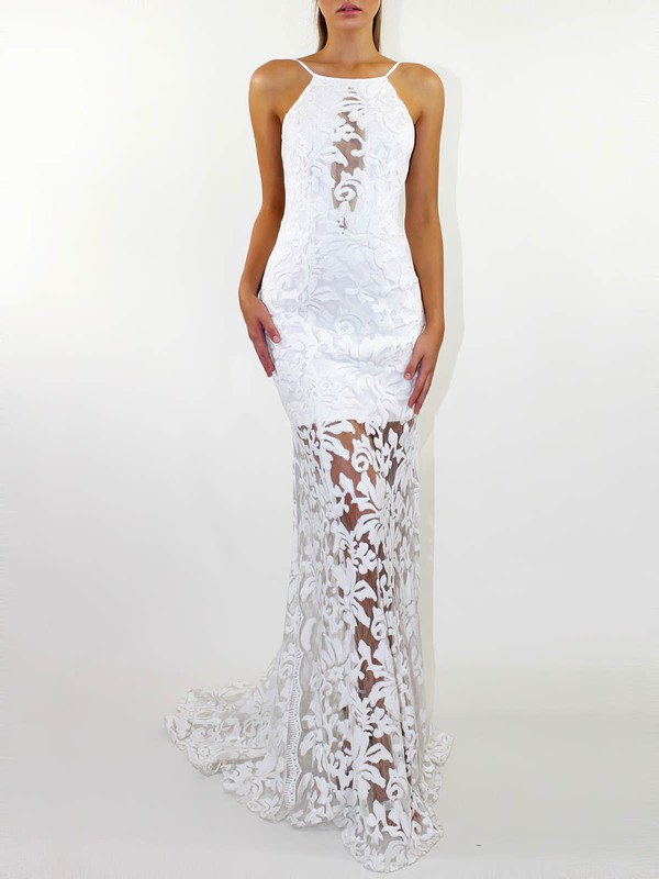 Lace Square Neckline Sweep Train Trumpet/Mermaid Wedding Dresses #PWD00023472