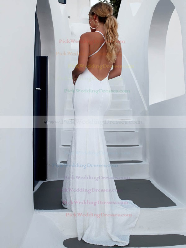Sequined V-neck Sweep Train Trumpet/Mermaid Wedding Dresses #PWD00023473
